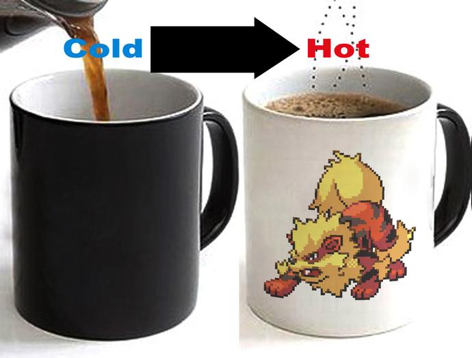 Pokemon Arcanine Color Changing Ceramic Coffee Mug CUP 11oz
