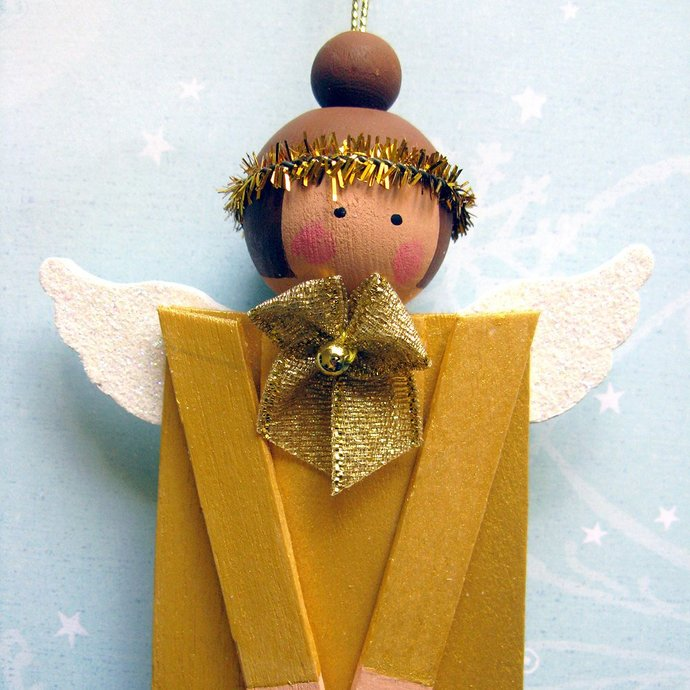 Wood Popsicle Stick Angel. Christmas Holiday Folk Art Decoration. Primitive Gold
