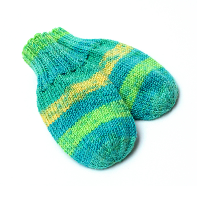 Made to Order Wool-Free Hand Knit Thumbless Baby Mittens. Preemie/Newborn to 24