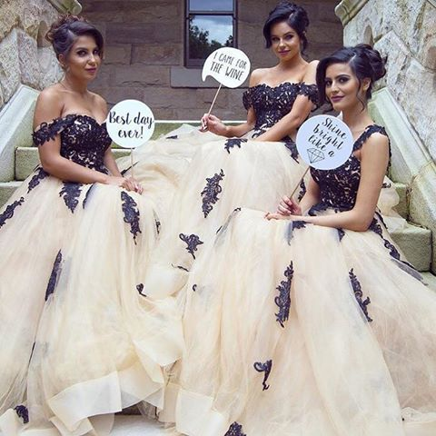 Cheap bridesmaid dresses ,Champagne A Line Tulle Bridesmaid Dresses off the
