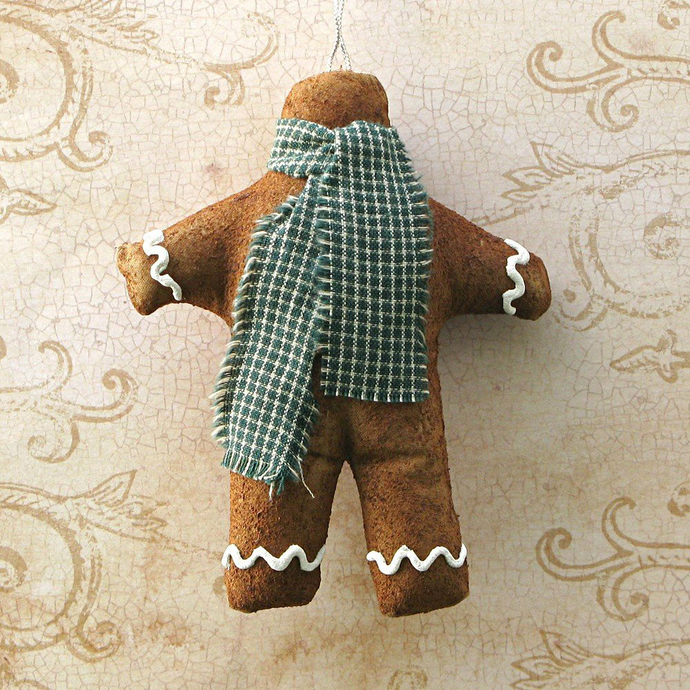 Gingerbread Man Cloth Ornament With Green Check Scarf. Christmas Tree Hanger.