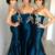 Custom Made Dark Navy Sweetheart Neckline Floor Length Satin Bridesmaid Dress