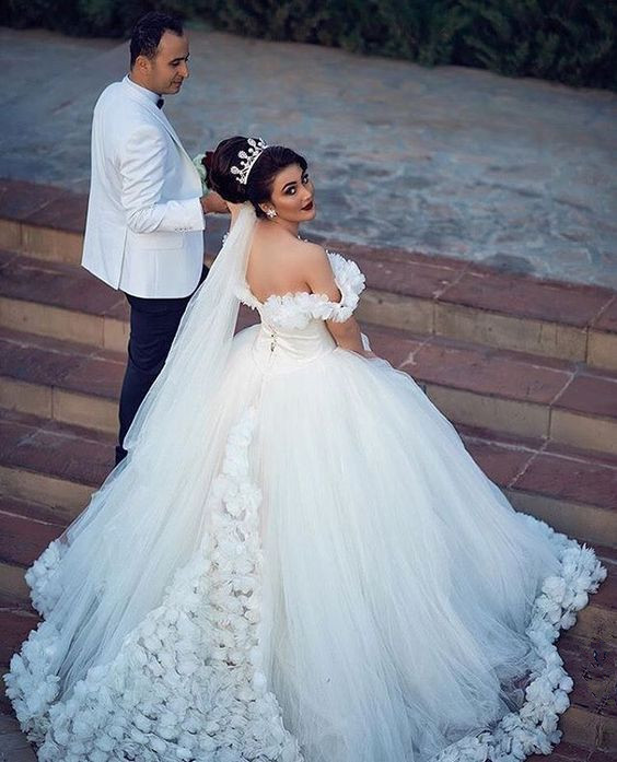 45c8904f3739 Floral Off Shoulder Ball Gown,White Wedding Dress,Long Bridal Gown,unique  bridal