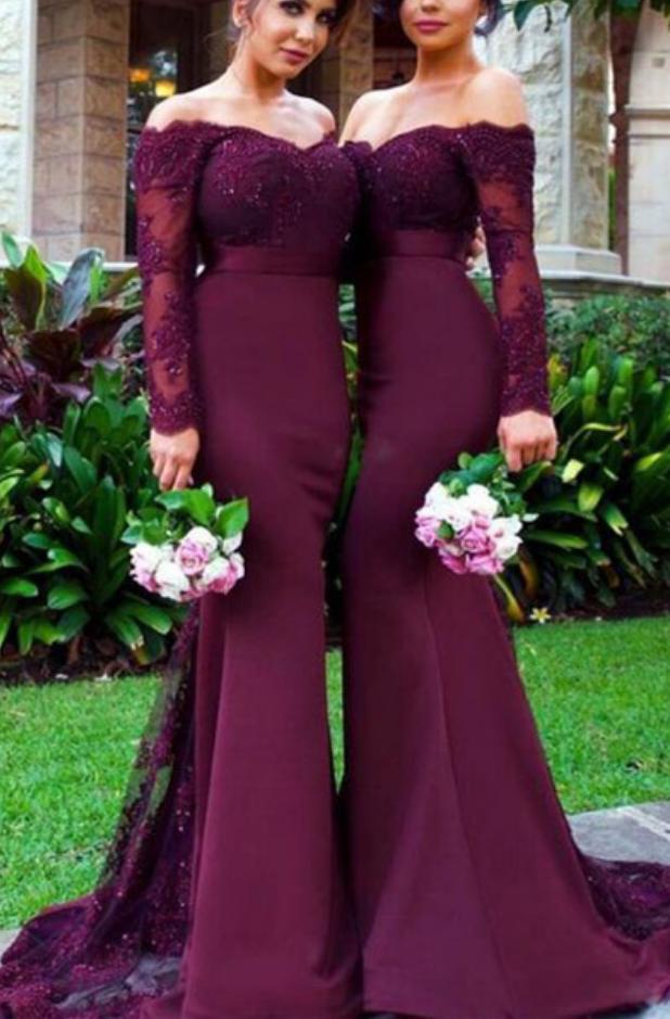 d8ee1ebaee34 Off Shoulder Burgundy Lace Bridesmaid Dresses, Long Sleeve Mermaid  Bridesmaid