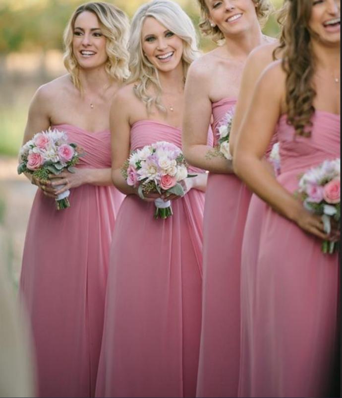 Strapless pleat A line chiffon dress,floor length cheap pregnant bridesmaid