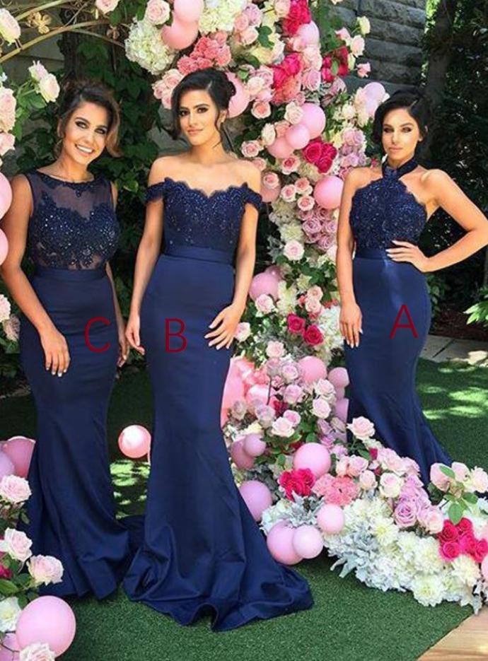Navy Blue Bridesmaid Dresses,Mermaid