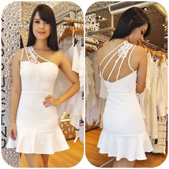 White Pencil Dress with Appliques,Short Prom Dress with Open Back,Simple