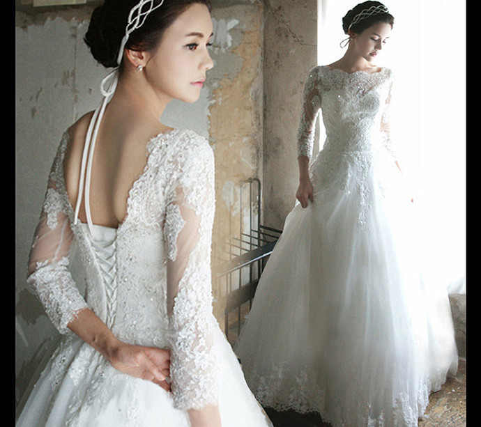 Princess Wedding Dress 3/4 Sleeves Lace-up by prom dresses on Zibbet