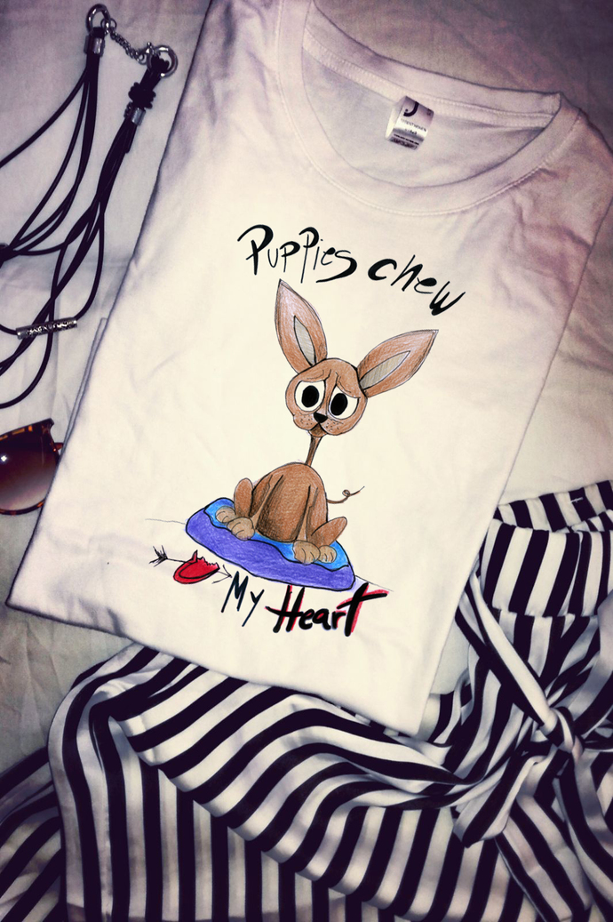 Puppies Chew My Heart, Woman T Shirt Tee, High Quality Cotton, Handpainted