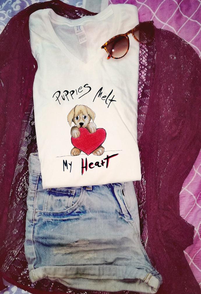 Puppies Melt My Heart, Woman T Shirt Tee, High Quality Cotton, Handpainted