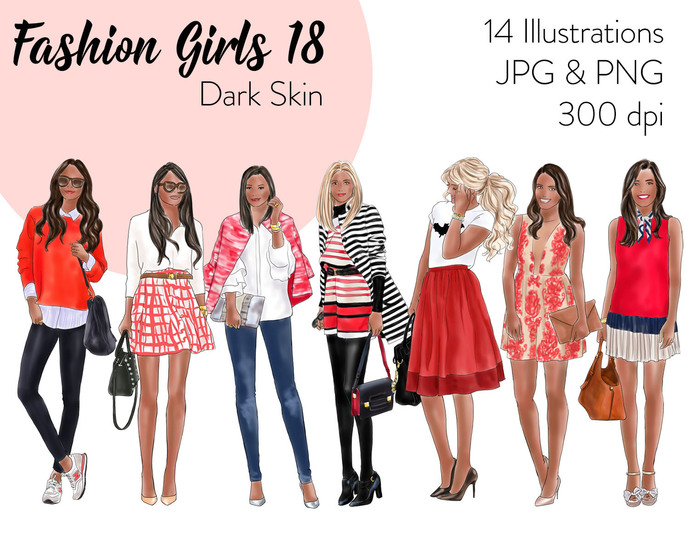 Watercolour fashion illustration clipart - Fashion Girls 18 - Dark skin