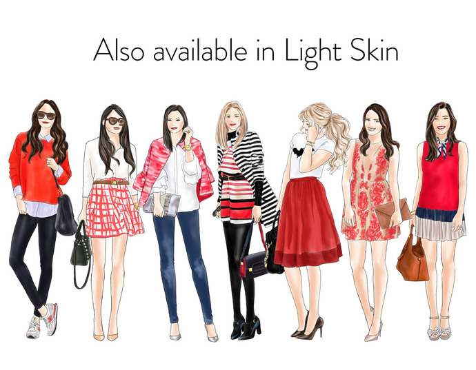 Watercolour fashion illustration clipart - Fashion Girls 18 - Dark skin