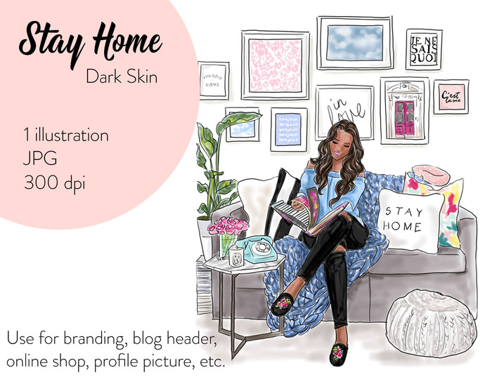Watercolour fashion illustration clipart - Stay home - Dark Skin