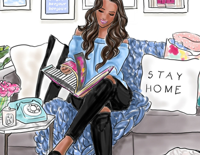 Watercolour fashion illustration clipart - Stay home - Dark Skin