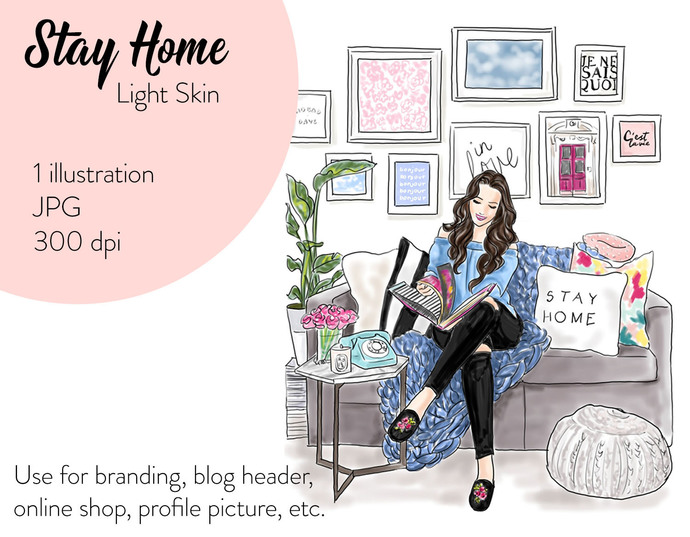 Watercolour fashion illustration clipart - Stay home - Light Skin