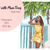 Watercolour fashion illustration clipart - Girl with Palm Trees - Dark Skin