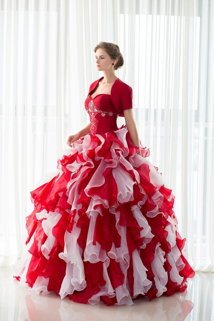 98a26439593 Ruffled Mixed Color Organza Ball Gown Quinceanera Dresses with Jacket