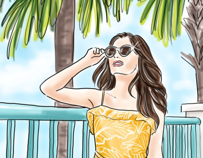 Watercolour fashion illustration clipart - Girl with Palm Trees - Light Skin