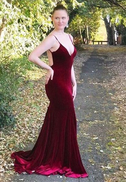 Red Velvet Prom Dress