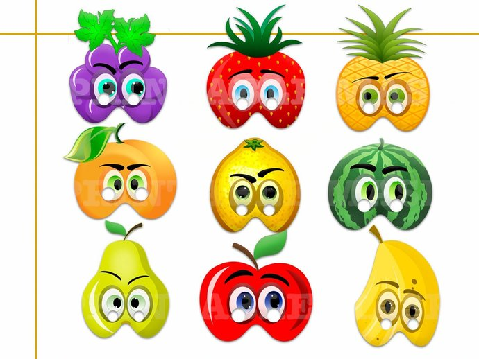 graphic regarding Printable Fruit Pictures named One of a kind Culmination Printable Masks, costumes, paper masks, fruit get together, image booth props, birthday, get together favors, children gown up participate in, fruit mask
