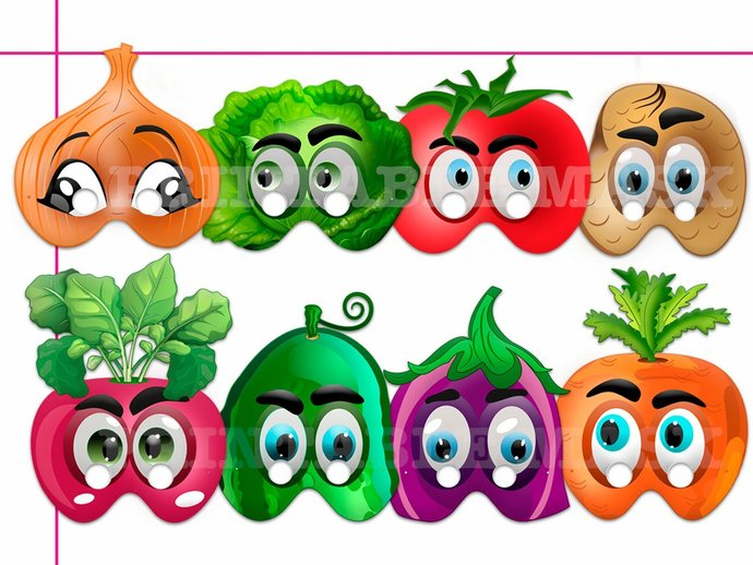 Unique Vegetables Printable Masks, costumes, paper masks, Vegetables party,