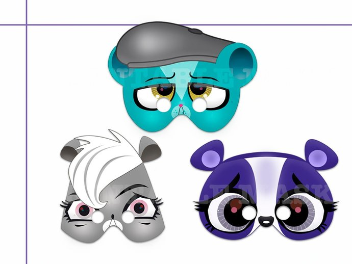 Unique 3 Pets Printable Masks, paper mask, diy party, decoration, costume, photo
