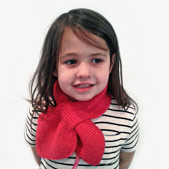 Made to Order Kids Knit Scarf. Custom Pull Thru Keyhole Muffler.