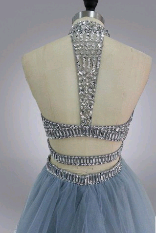 Two Pieces Beading O-Neck Homecoming Dresses,Short Prom Dresses,Cheap Homecoming