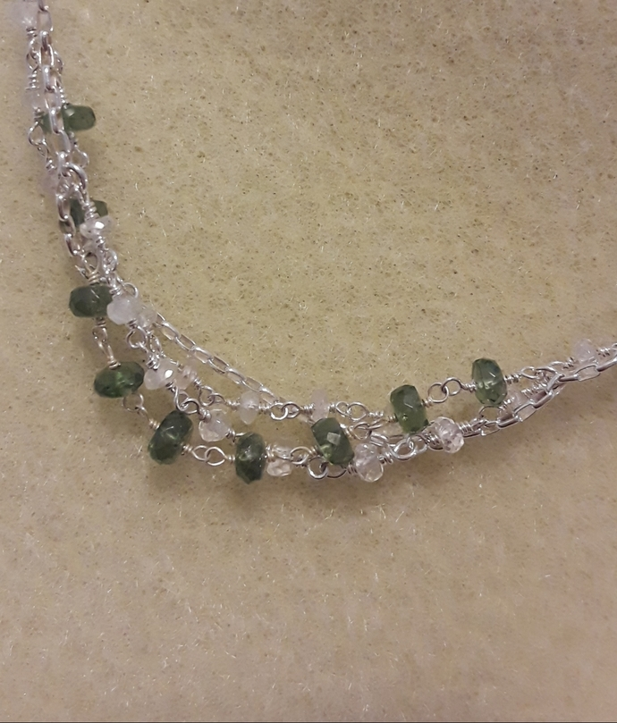 White sapphire and green apatite necklace