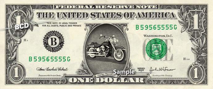 HARLEY DAVIDSON Motorcycles on a REAL Dollar Cash Money Collectible Memorabilia
