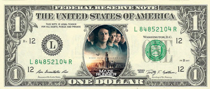 MAZE RUNNER Movie on a REAL Dollar Bill Cash Money Collectible Memorabilia