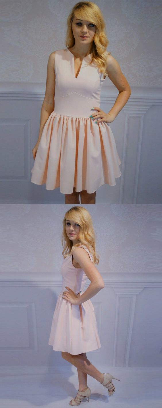 A-Line V-Neck Sleeveless Pink Satin Short Homecoming Dress with Pleats,Simple