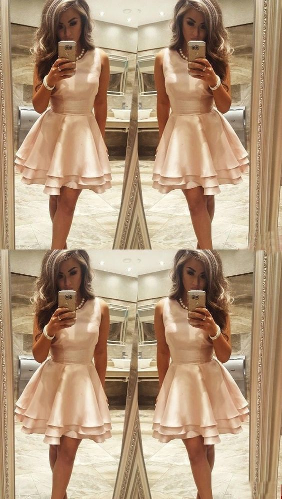 A-Line Round Neck Sleeveless Short Homecoming Dress,Simple Homecoming
