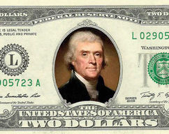 072cd44b87b Thomas Jefferson COLOR on a REAL TWO Dollar Bill Cash Money Collectible  Memorabilia Celebrity Novelty Bank Note Currency