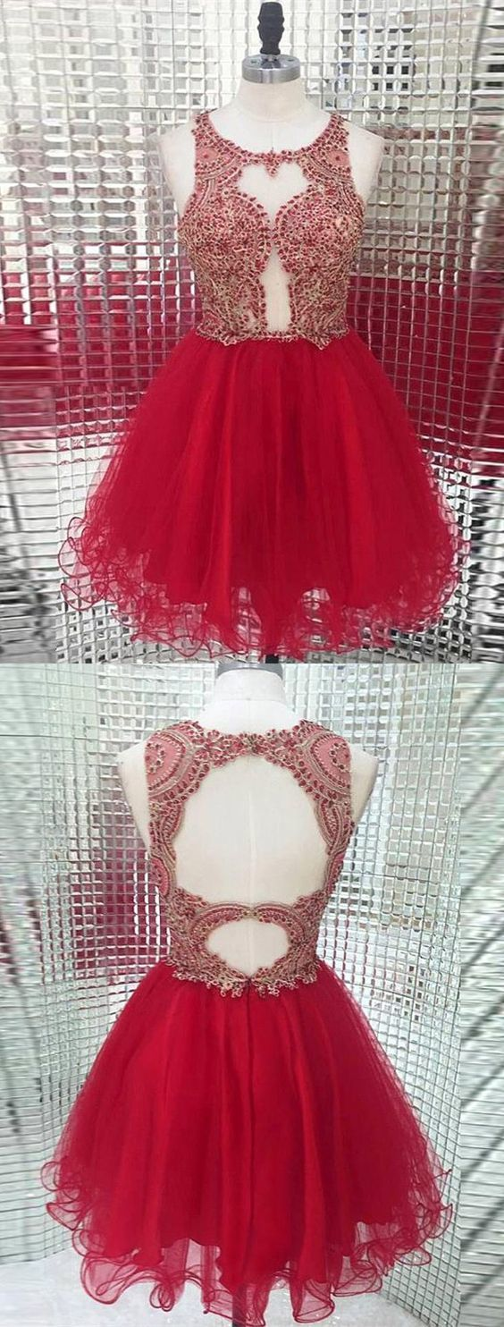 A-Line Round Neck Open Back Red Tulle Short Homecoming Dress with Beading,Simple