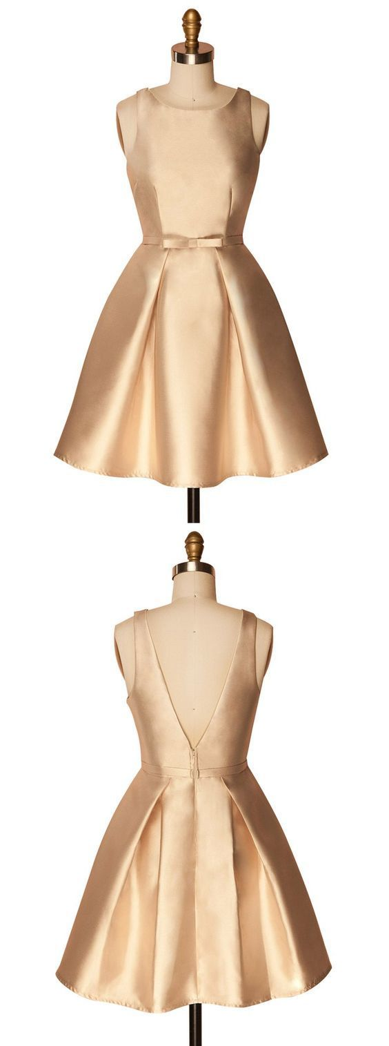 A-Line Crew Above-Knee Backless Satin Homecoming Dress,Simple Homecoming