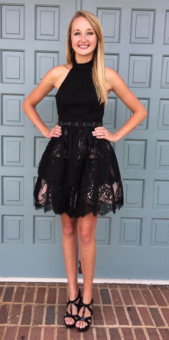 12b9802a33ce A-Line Halter Backless Short Black Homecoming Dress with Lace,Simple  Homecoming