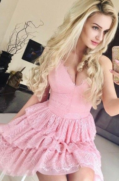 Sexy A Line Spaghetti Straps Pink Short Prom By Dress Storm On Zibbet