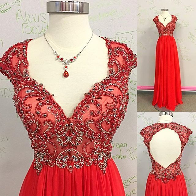 b8b285d2b2f Beaded Long Red Prom Dress with Open Back by prom dresses on Zibbet