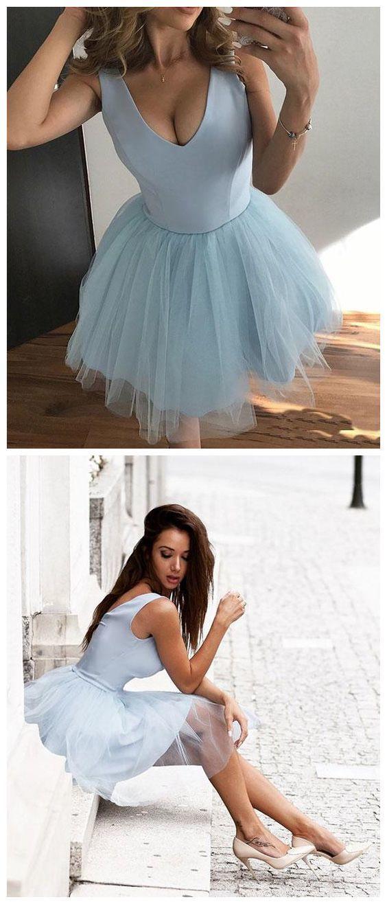 615796afe4e Cute V-Neck Light Blue Tulle Homecoming by Dress Storm on Zibbet