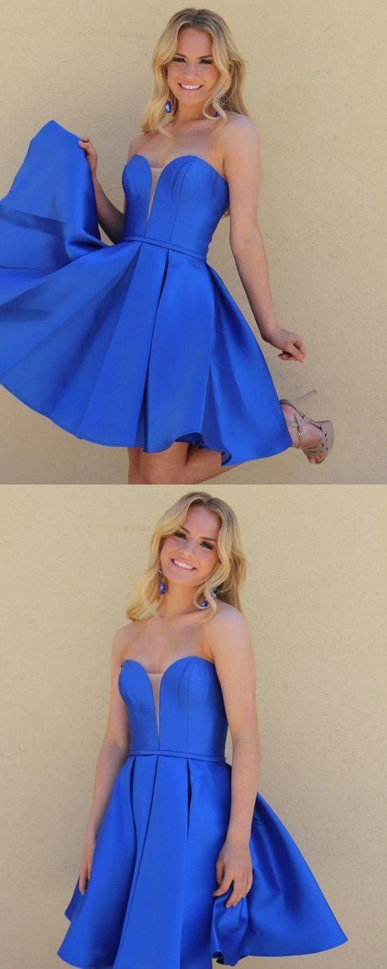 Cute Royal Blue Sweetheart Satin Homecoming Dress,Short Party Dress,Simple