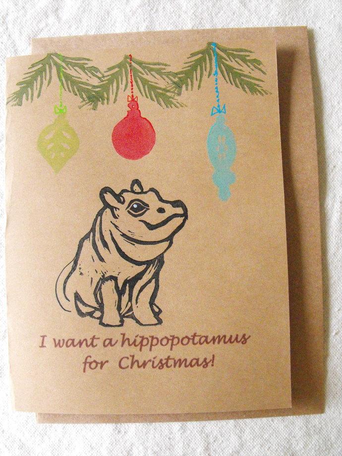 Original handmade greeting card, blank art card, linocut block print, hand