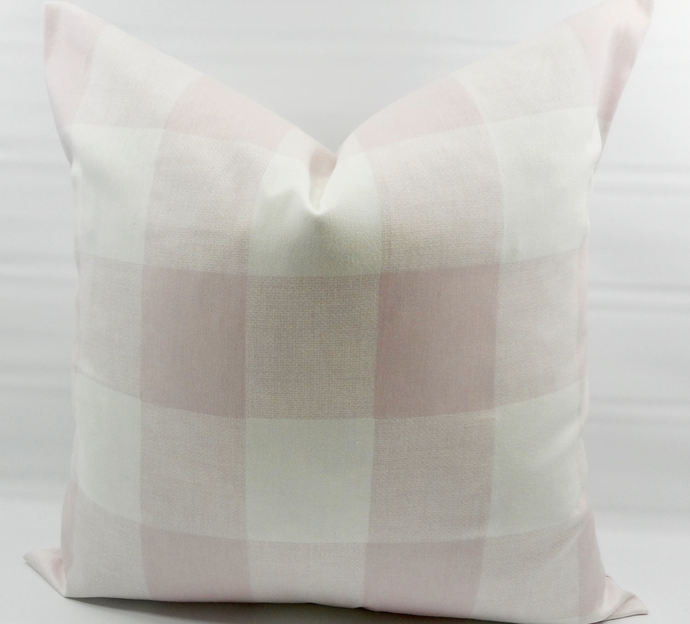 Bella Pink and white in Anderson Print. Buffalo Check Sofa Pillow cover. Throw