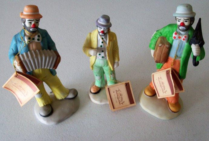 Flambo Emmett Kelly Set Of Three 1984 Statues