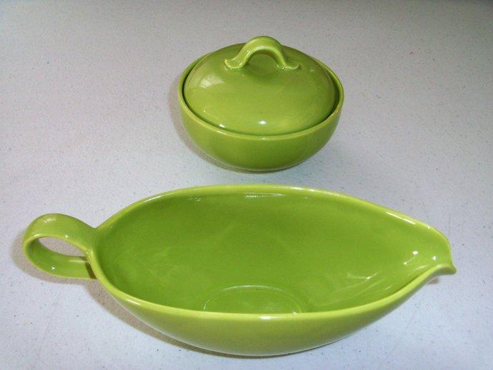 Homer Laughlin Rhythm Green Gravy Boat & Sugar Bowl