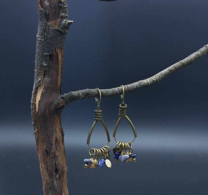 Blue etnic style earrings, lightweight earrings, stone dangle earrings, tribal