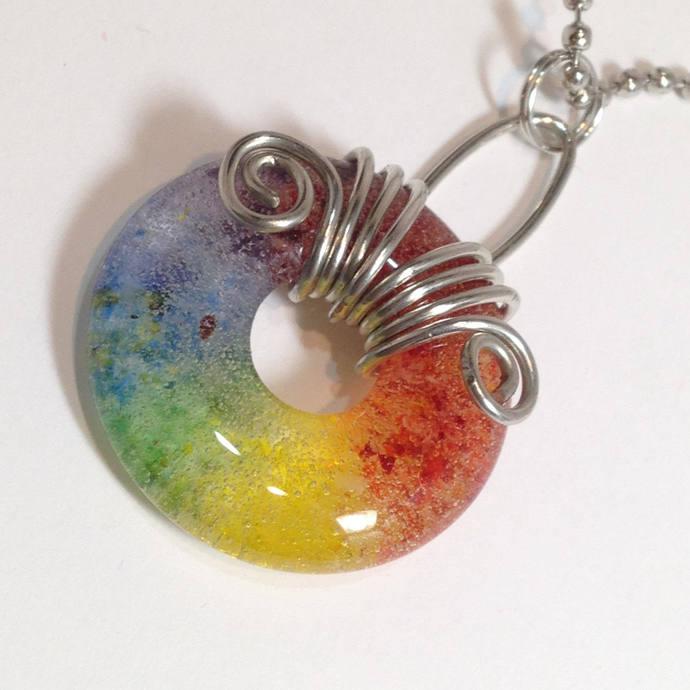 Rainbow Donut Cabochon Pendant, Handmade Jewelry, Lgbt Jewelry,  Rainbow, Large