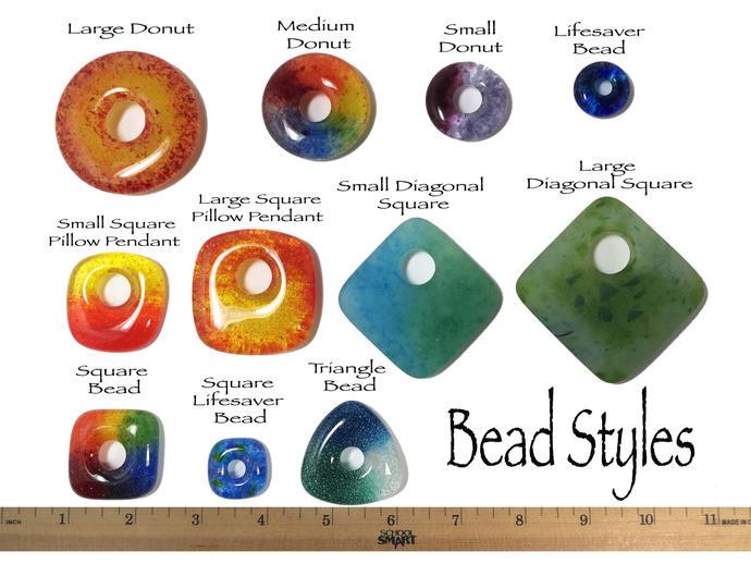 Sea Green Glass Donut Beads, Set of 5 , Aqua Focal Bead, LGBT Jewelry, Handmade,