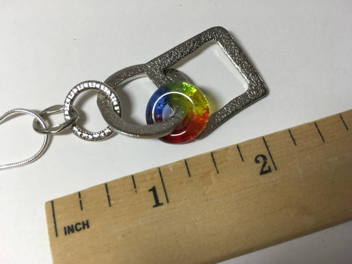 Handmade Fused Glass Dangle Pendant, LGBT colors, Rainbow Colors, Free shipping,