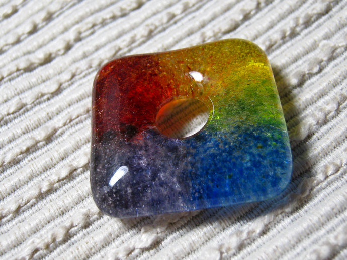 SQUARE Rainbow Bead Fused Glass Donut Red Orange Yellow Green Blue Purple /